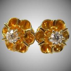 14k Gold Buttercup Setting 0.35tcw Diamond Victorian Earrings