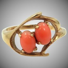 10k Gold 1930's Natural Coral Lady's Size 6 1/4 Ring
