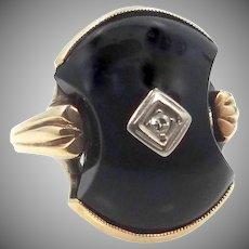 10k Gold Black Onyx & Diamond Art Deco Ring