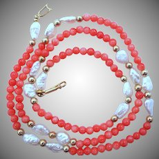14K Gold Coral & Freshwater Pearls Necklace