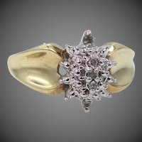 10k White & Yellow Gold Diamond Dinner Ring