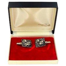 1960s Sterling Silver St. John Vianney Cufflinks Mint in Box Cuff Links