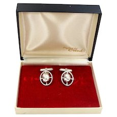Creed Sterling Silver Mid Century Blessed Mother Cufflinks MIB Cuff Links
