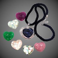 Neat Sterling Silver Heart Pendanat with 7 Different Faceted Gemstone Inserts