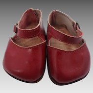 1940's Dark Red Leather Doll Shoes with Metal Buckle