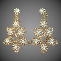 "1960's Shoulder Duster Rhinestone Clip on Earrings 3"" Long"