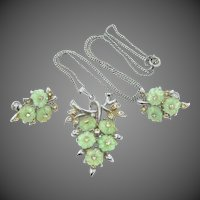 Pretty Green Fruit Salad Style Necklace & Screw Back Earrings Set