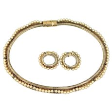 Bliss Bros. Gold Filled Faux Pearls Retro Necklace & Earrings Set