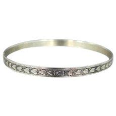 Beau Sterling Silver Hearts Motif Bangle Bracelet