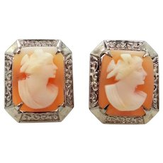 Art Deco 14k White Gold Carved Shell Cameo Pierced Earrings