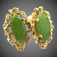 14k Gold Chrysoprase Pierced Earrings