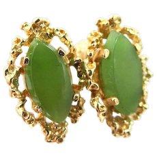 14k Gold Chrysoprase Pierced Earrings
