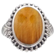 Sterling Silver & Tiger Eye Lady's Size 7 3/4 Ring