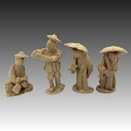 4 Doll House Miniature Asian Clay Figures