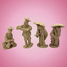 4 Doll House Miniature Asian Clay Figures