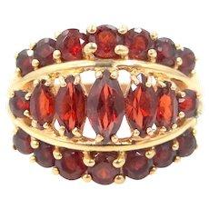 10k Gold Bohemian Garnets Lady's Size 7 1/4 Ring