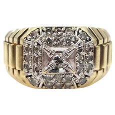 """Man's Massive 10k Gold & Diamonds Ring with """"Stepped"""" Shoulders SIze 11"""