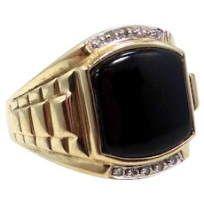 """10k Gold Diamonds & Onyx Man's Ring With """"Stepped"""" Shoulders"""