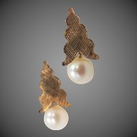 14k Gold Cultured Pearls Earrings