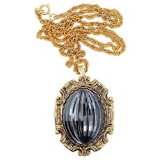 REDUCED - Whiting & Davis Large Stippled Cabochon Hematite Necklace