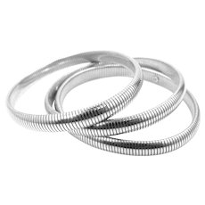 3 Matching Stacking Sterling Silver Bangle Bracelets
