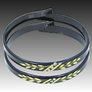 2 Art Deco Carved Celluloid Bangle Bracelets with Rhinestone Accents
