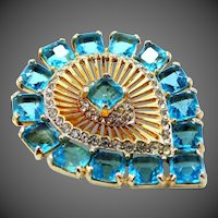 Gorgeous Gold Tone Brooch with Princess Cut Faceted Blue Glass Stones