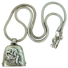"Neat Sterling Silver ""Baby Secrets"" Necklace Cherubs & Moon"