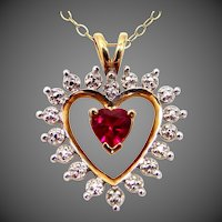 10k Gold Diamonds & Synthetic Ruby Heart Shaped Necklace