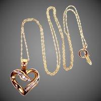 10k Gold & Diamonds Heart Shaped Necklace