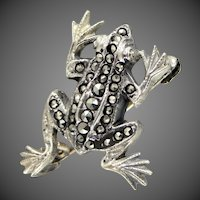 Cute Sterling Silver & Marcasites Figural Frog Pin