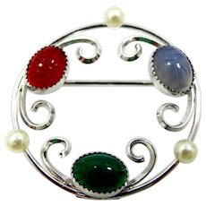 Beau Sterling Silver Cultured Pearls & Carved Semi Precious Gemstone Scarabs Pin