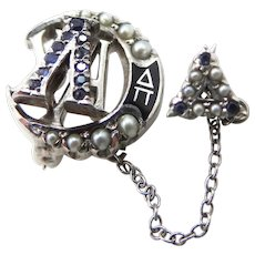10k White Gold Lambda Chi Alpha Seed Pearls & Sapphires Fraternity Pin with Delta Chapter Pin