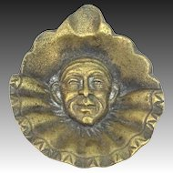 """REDUCED - 1930's Solid Brass Clown Face Ruffled Neck Ash Tray Only 3"""" Wide"""
