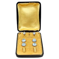 Art Deco 6 Piece White Gold Filled Moonstone Colored Glass Stud Set with Original Box
