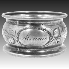 """Victorian Sterling Silver with Acorns Napkin Ring Engraved """"Minnie"""""""