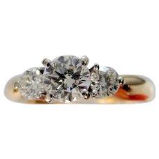 14k Gold Past, Present & Future Ring 0.60 Center Diamond 1 Carat Total Weight Diamonds