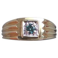 Man's 10k Gold & 1/4 Carat Blue Diamond Ring