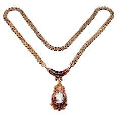 Victorian 10k Gold REGARD Bookchain Cameo Necklace