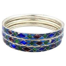 3 Heavy Sterling Silver & Enamel Stacking Bangle Bracelets
