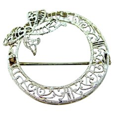 Art Deco 10k White Gold Filigree Pin with Bow Motif