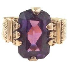 14k Gold Victorian Purple Sapphire Ring