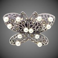Lady's Sterling Silver, Marcasites & Cultured Pearls Butterfly Ring Size 10