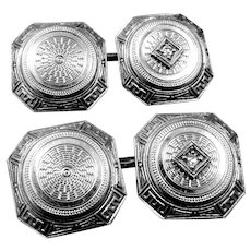Art Deco 14k White Gold & Diamonds Cufflinks Cuff Links