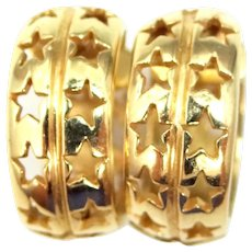 14k Solid Gold Hoop Earrings with Cut Out Stars Design