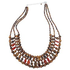 Gorgeous Tigers Eye and Agate Sterling Silver Bib Necklace