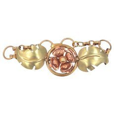 Retro Rose Gold & Yellow Gold Filled Harry Iskin Floral Bracelet