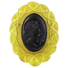 Huge Back Carved Applejuice Bakelite Cameo Pin