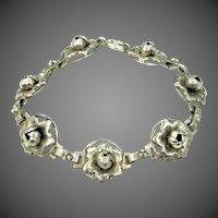 1930's Sterling Silver Floral Bracelet