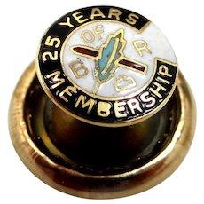 10k Gold & Enamel B of R 25 Years Membership Pin Brotherhood Railroad